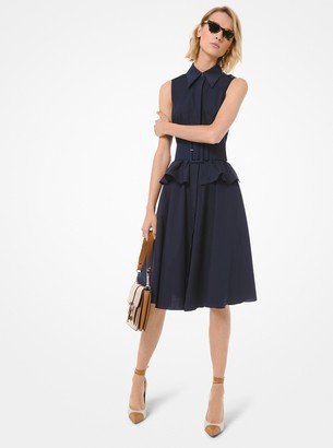 Michael Kors Collection Cotton Poplin Peplum Shirtdress