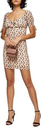 Topshop Flocked Dot Tie Cuff Mesh Minidress