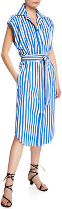 Derek Lam Sleeveless Striped Wrapped Shirtdress