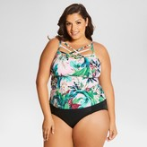 Beach Betty by Miracle Brands Women's Plus Size Control Floral Print Criss-Cross Front Tankini Swim Top Purple - Beach Betty (Juniors')