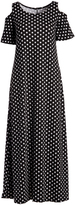 Glam Black & White Dot Shoulder-Cutout Maxi Dress