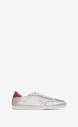 Saint Laurent Court Classic Sl/10 Sneakers In Perforated Leather Silver 10.5