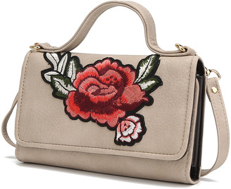 MKF Collection by Mia K. Women's Crossbodies - Sand Floral-Embroidered Crossbody Bag