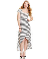 Planet Gold Juniors' Striped Empire-Waist High-Low Dress