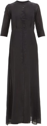 ALBUS LUMEN Andrea Raw-seam Cotton-blend Maxi Dress - Black