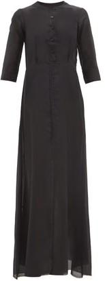 ALBUS LUMEN Andrea Raw-seam Cotton-blend Maxi Dress - Womens - Black