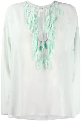 Giamba Feather Applique Blouse