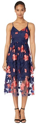 Vince Camuto Embroidered Mesh Sleeveless V-Neck Midi (Navy Multi) Women's Clothing