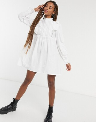 ASOS DESIGN cotton trapeze mini smock dress with frill yoke detail