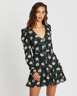 Missguided Puff Sleeve Button Skater Dress