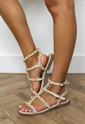 Missguided Cream Chain Gladiator Sandals