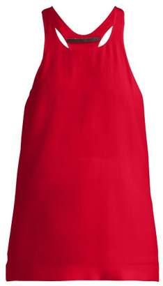 Haider Ackermann Scoop Neck Racer Back Silk Crepe Tank Top - Womens - Red