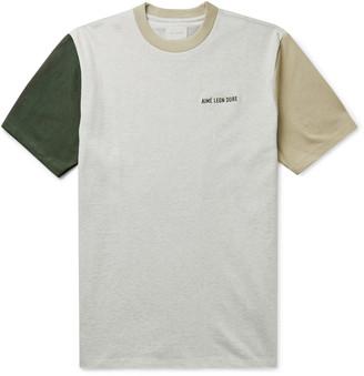 Aimé Leon Dore Logo-Embroidered Colour-Block Cotton-Jersey T-Shirt - Men - Neutrals