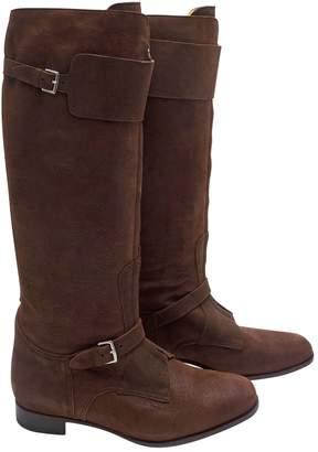 Hermes \N Brown Suede Boots
