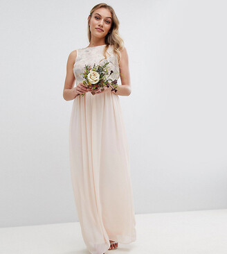 TFNC Petite Petite Maxi Bridesmaid Dress With Soft Floral Sequin Top-Pink