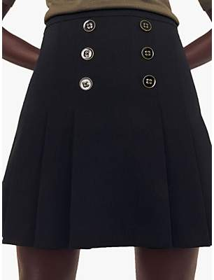 Oasis Pleat Button Kilt Skirt, Black