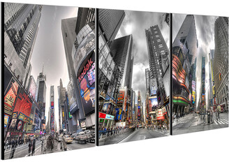 Chic Home Design Citylife 3Pc Set Wrapped Canvas Wall Art