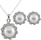 Splendid Pearls Pearl Silver 8-8.5Mm Freshwater Pearl & Cz Necklace & Earrings Set