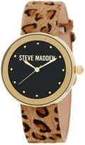 Steve Madden Women's Cheetah Print Faux Fur Leather Strap Watch