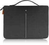 "Giorgio Fedon Web File 2 Black Leather and Nylon 13"" Laptop Case"
