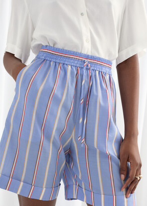 And other stories Striped Lyocell Drawstring Shorts