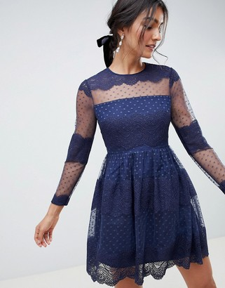 Asos Design DESIGN premium lace & dobby mesh mini dress with long sleeves