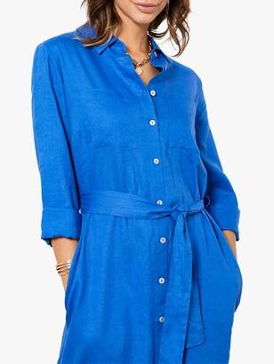 Mint Velvet Linen Midi Shirt Dress, Blue