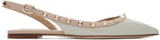 Valentino Grey and Pink Garavani Rockstud Slingback Ballerina Flats