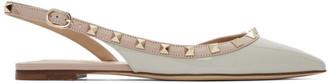 Valentino Grey Garavani Rockstud Slingback Ballerina Flats