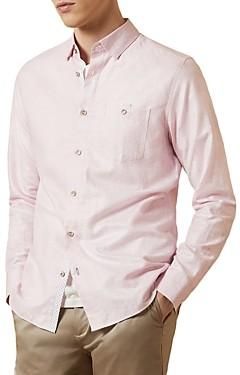 Ted Baker Tiptoe Linen-Cotton Slim Fit Shirt