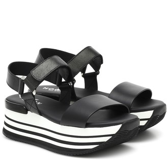 Hogan H294 leather platform sandals