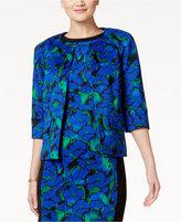 Kasper Floral-Print Open-Front Jacket