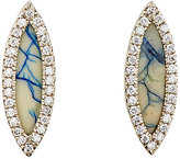 Monique Péan Women's White Diamond & Azurite Navette Stud Earrings