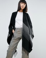 Pieces Fringed Effect Oversized Cape