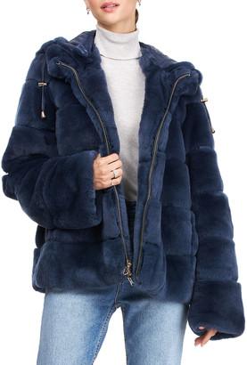 Gorski Reversible Horizontal Rex Rabbit & Down Hooded Jacket