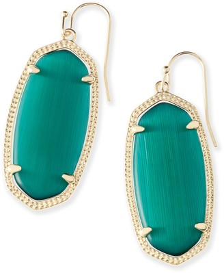 Kendra Scott Elle Gold Drop Earrings in Emerald Cat's Eye