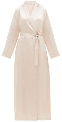 La Perla Belted Long Silk-satin Robe - Light Pink
