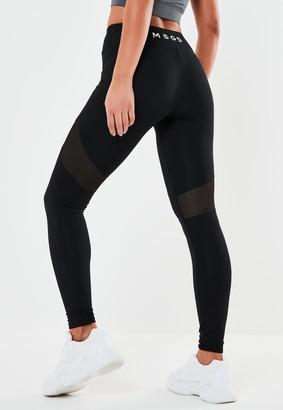 Missguided Tall Active Black Msgd Airtex Panelled Leggings