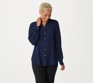 Susan Graver Woven Y-Neck Button- Front Shirt