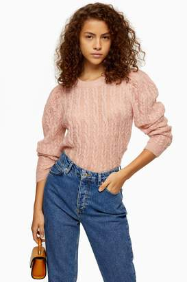 Topshop Womens Knitted Pink Gauzy Cable Crew Neck Jumper - Pink