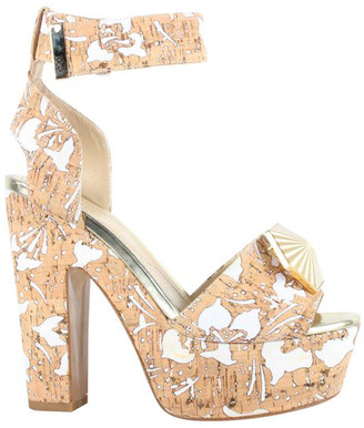 Nicholas Kirkwood Beige Printed Leather Lasercut Cork Wedges Sandals Size 36