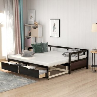Winston Porter Wooden Daybed With Trundle Bed And Two Storage Drawers ,?Extendable Bed Daybed,Sofa Bed For Bedroom Living Room,Espresso