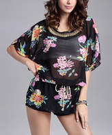 Chateau Amour Women's Tunics BLACK - Black Floral Sheer Blouson Tunic - Women
