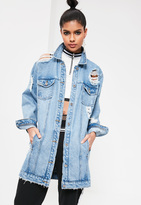 Missguided Blue Ripped Longer Length Denim Jacket