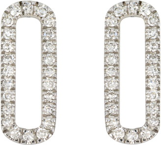 Carriere Sterling Silver Pave Diamond Open Oval Stud Earrings - 0.14 ctw