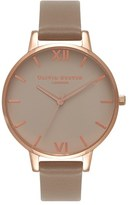 Olivia Burton Go For Griege Leather Strap Watch, 38mm