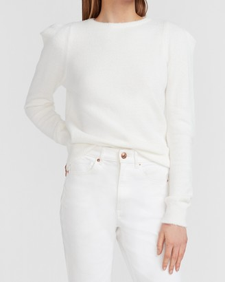 Express Puff Shoulder Crew Neck Sweater