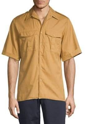 Dries Van Noten Roll-Cuff Short-Sleeve Button-Down Shirt