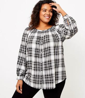 LOFT Plus Plaid Smocked Neck Tunic Shirt