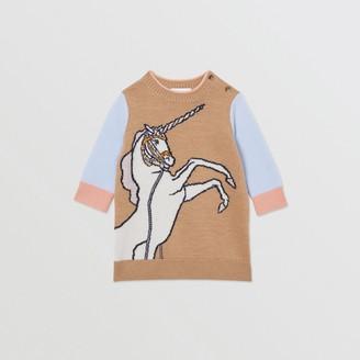 Burberry Childrens Unicorn Intarsia Wool Cashmere Dress